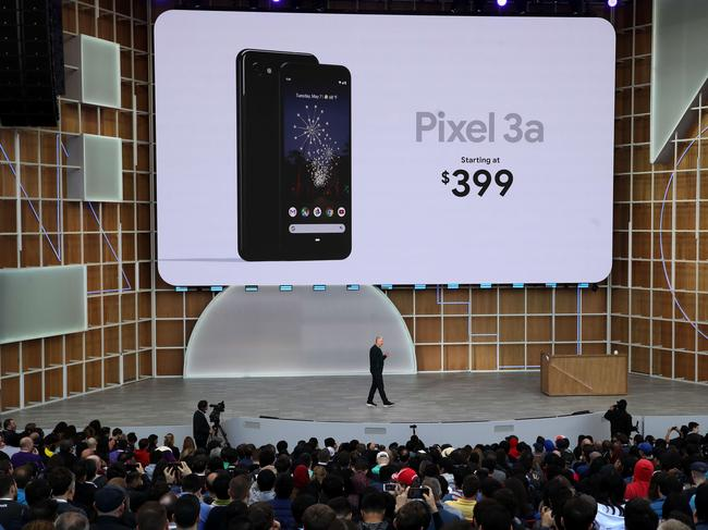 Google SVP of devices and services Rick Osterloh announces the new Google Pixel 3a during the keynote address at the 2019 Google I/O conference at Shoreline Amphitheatre. Picture: Justin Sullivan