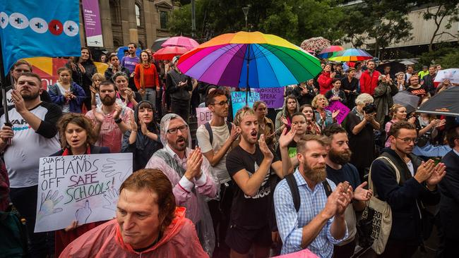 Protesters at the Hands Off Safe Schools rally in Melbourne earlier this month. Picture: Chris Hopkins/Getty