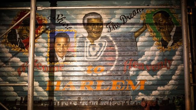 A mural depicts former South African President and civil rights champion Nelson Mandela in the Harlem neighbourhood of the Manhattan borough of New York. AFP