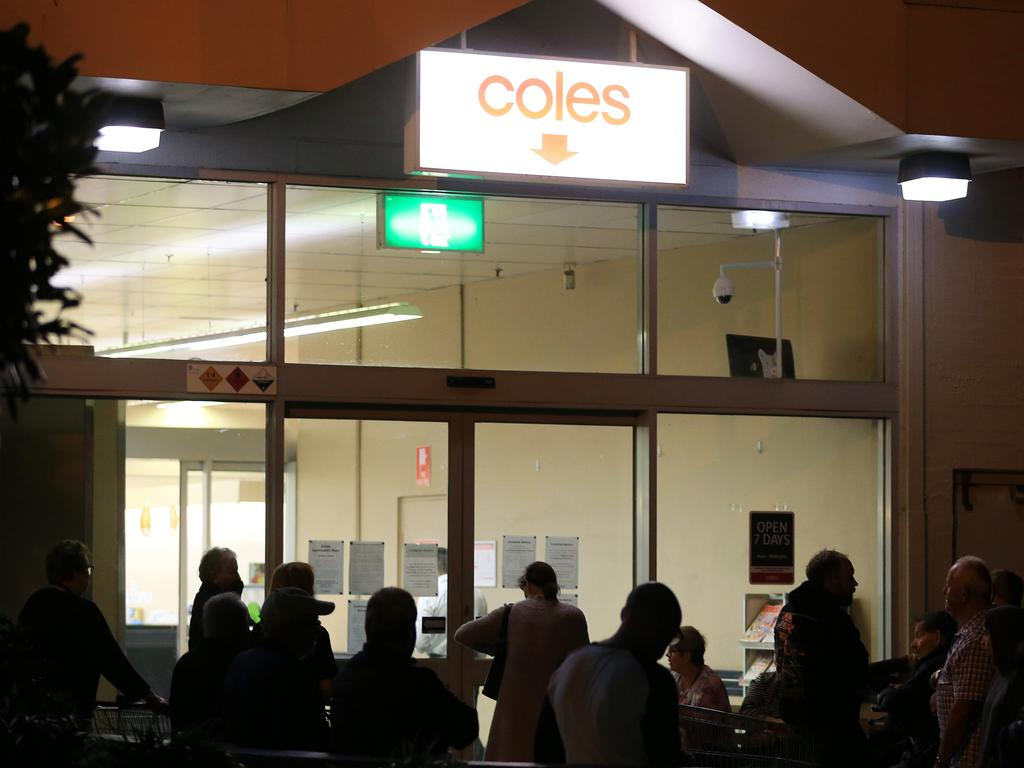 An orderly queue outside Coles in Coburg. Picture: Mark Stewart