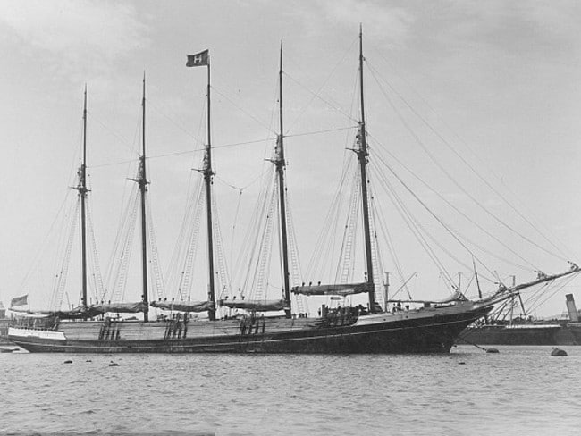 Peruvian transport vessel S.V Inca pictured anchored at Adelaide in 1904 — seven years before it vanished en route to Sydney. Picture: State Library of South Australia
