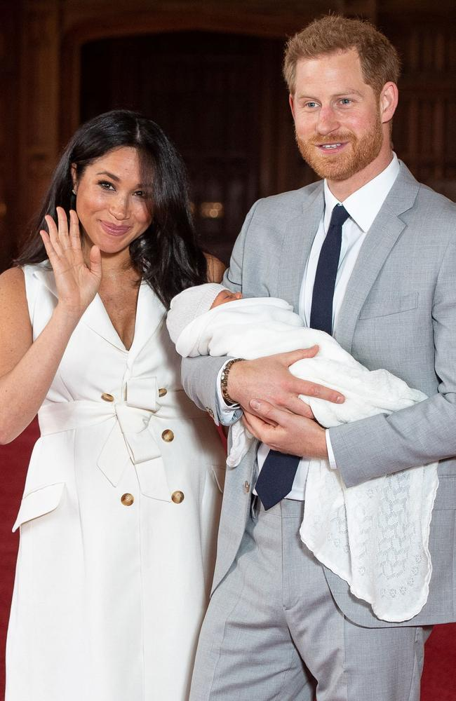 The couple posed with Archie shortly after his birth last month. Picture: Dominic Lipinski/Pool/AFP