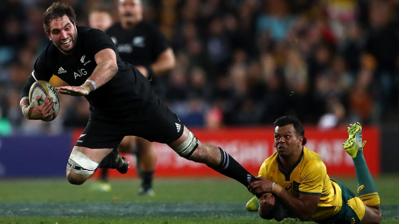 Sam Whitelock of the All Blacks is tackled during The Rugby Championship.