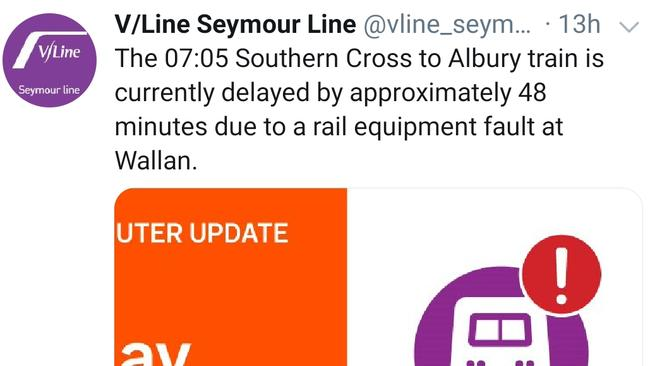 "An alert about an ""equipment fault"" on the rail line near Wallan. Picture: Twitter"