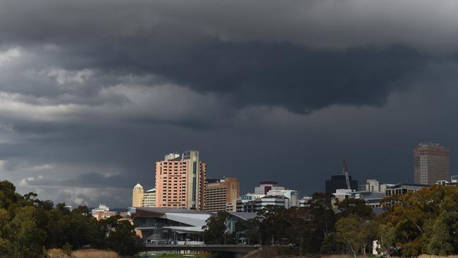 Adelaide's skyline in winter.