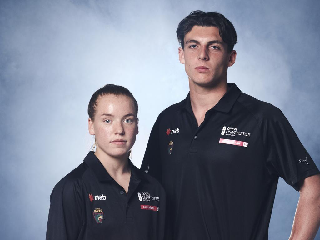 Tassie Devils under-18 players Mia King and Jackson Callow