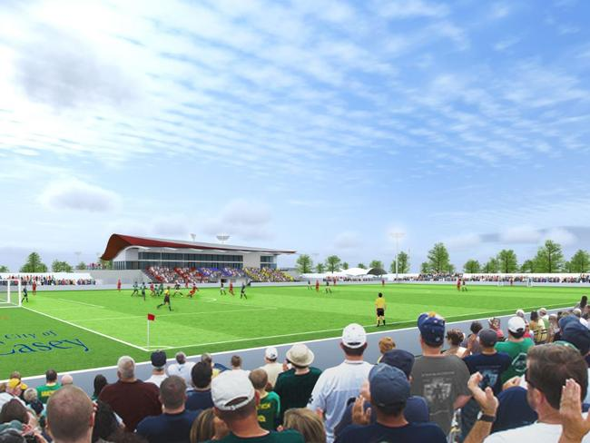 An artist's impression of the proposed elite training facility at Casey Fields if the Team 11 A-League licence is approved.