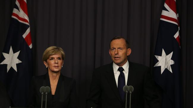 'Ghastly' ... Bishop and Abbott condemn the killings in a televised press conference this morning. Picture: Kym Smith.