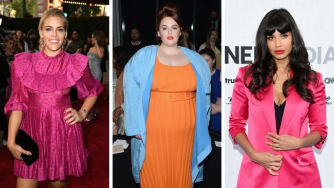 Busy Philipps, Tess Holliday and Jameela Jamil have all come forward to share their abortion experiences. Images: Getty