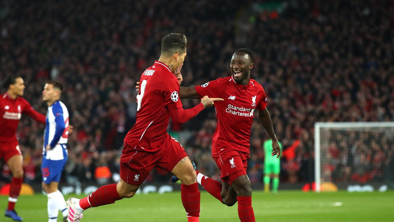 Naby Keita of Liverpool celebrates after scoring