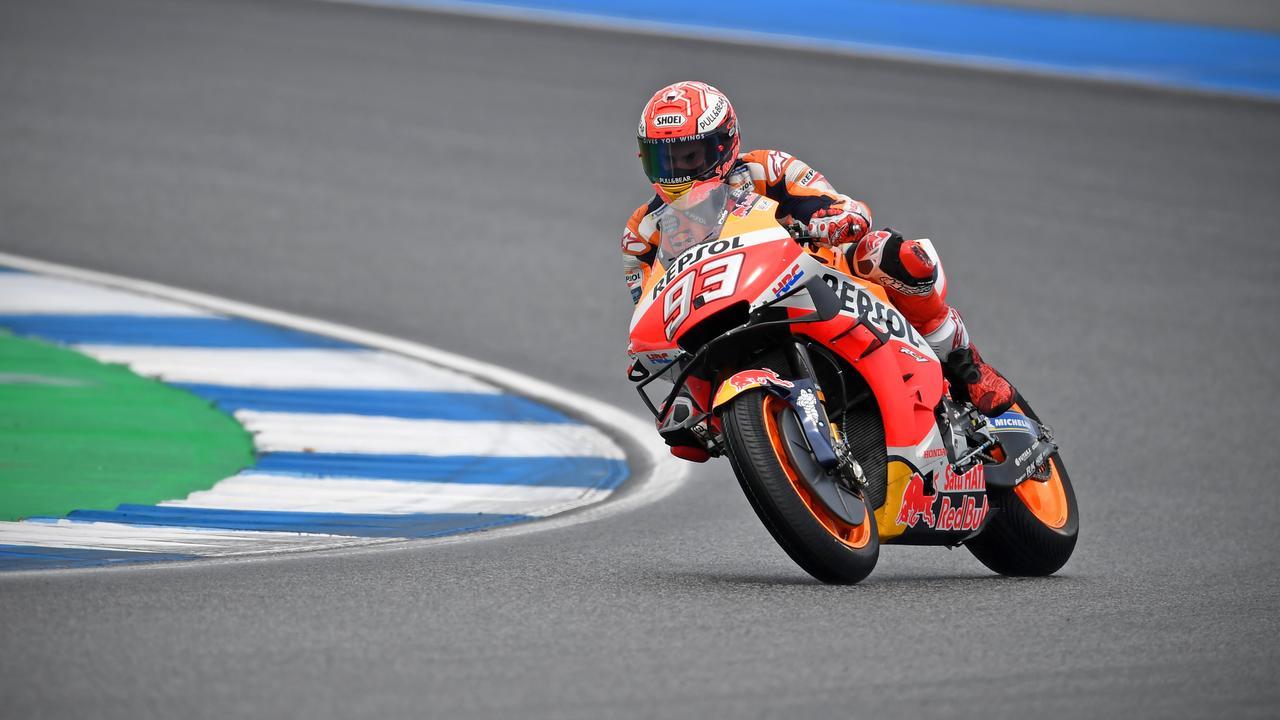 Marquez during qualifying in Buriram. Picture: Lillian Suwanrumpha