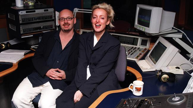 Ugly Phil O'Neil with Jackie O in the studio at 2Day FM in 1998.