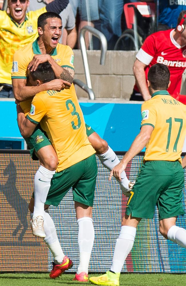 Tim Cahill celebrates his World Cup wondergoal.