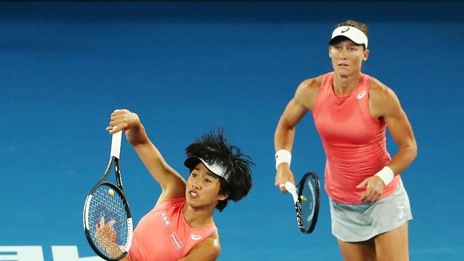 Stosur and Zhang will take on the second seeds in the final. Photo by Michael Dodge/Getty Images.