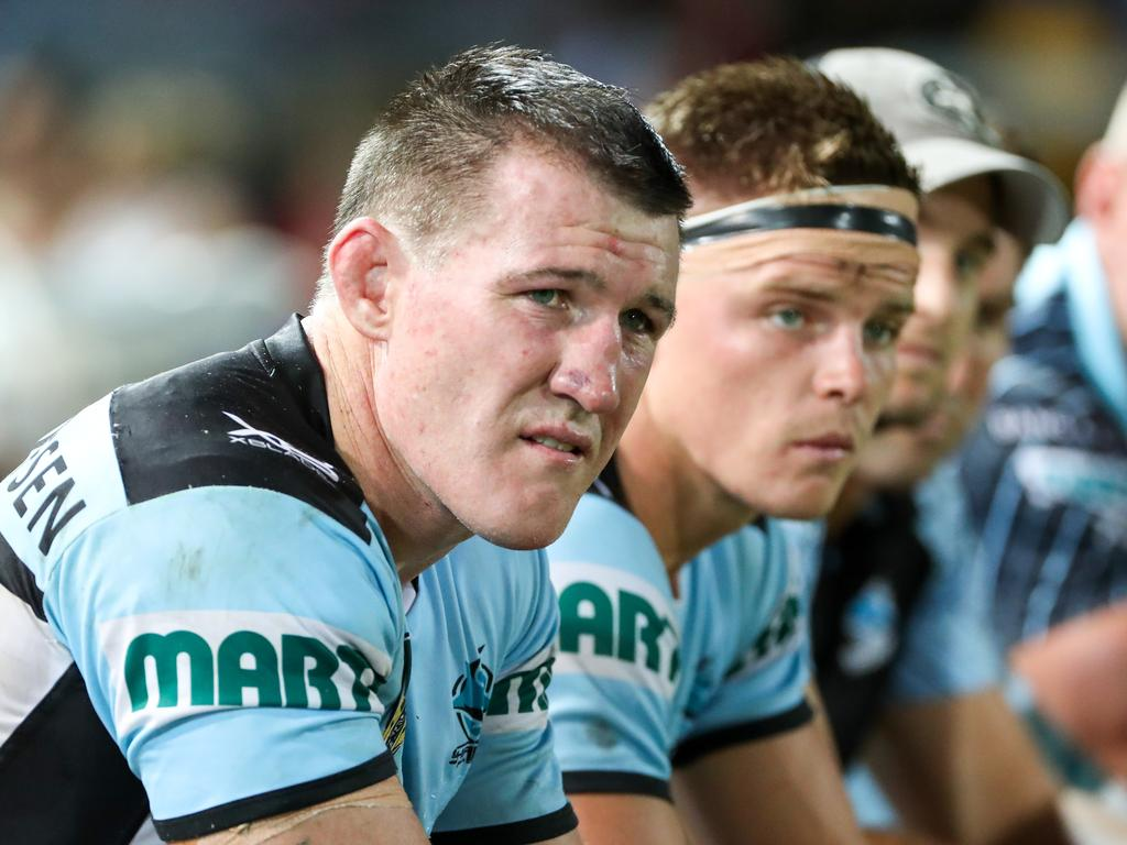 Paul Gallen, Co-Captain of the Sharks on the bench during the Round 1 NRL match between the North Queensland Cowboys and the Cronulla-Sutherland Sharks at 1300SMILES Stadium in Townsville, Friday, March 9, 2018. (AAP Image/Michael Chambers) NO ARCHIVING, EDITORIAL USE ONLY