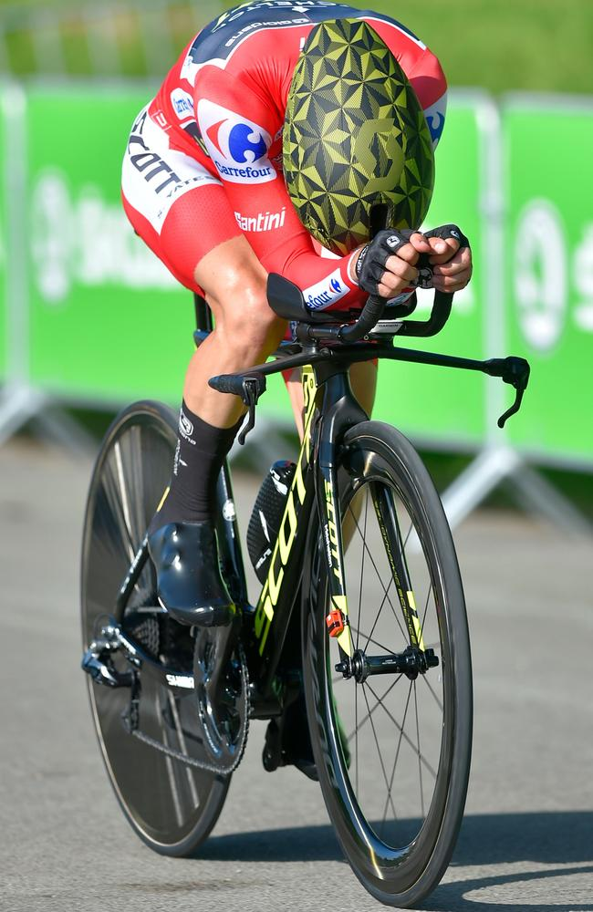 Mitchelton-Scott's Simon Yates competes during the 16th stage in a 32km individual time-trial. Picture: AFP