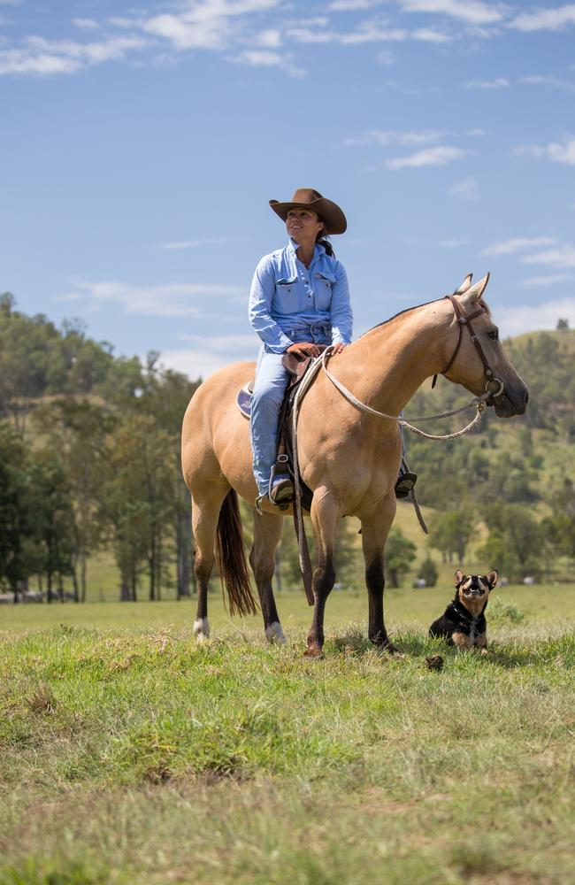 Cattle breeder Maree Duncombe on her Queensland station. Picture: David Kelly