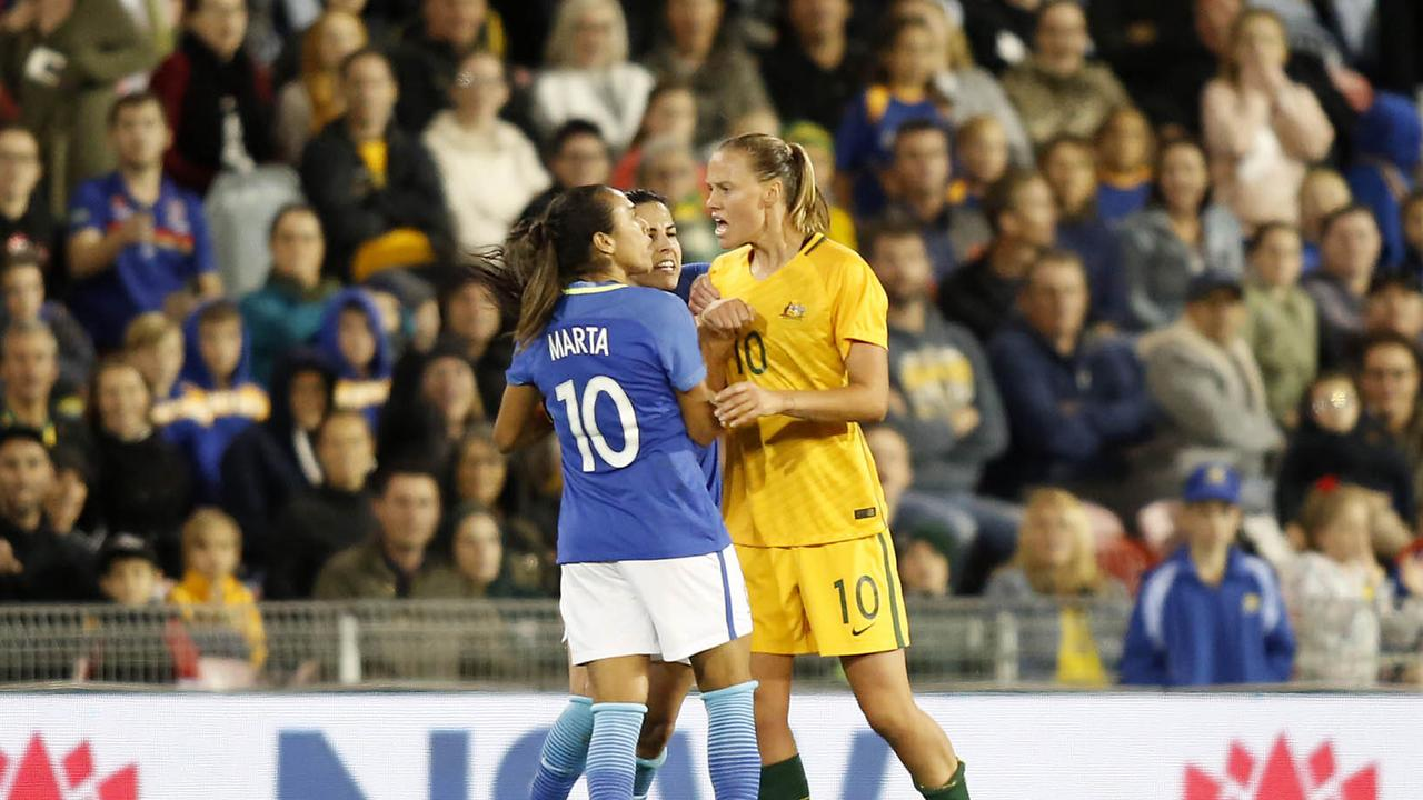 The Matildas and Brazil were involved in a fiery clash.