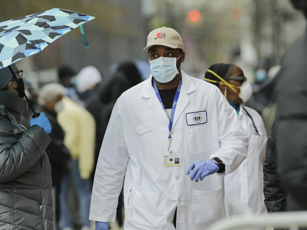 A medical worker in New York. Picture: AP