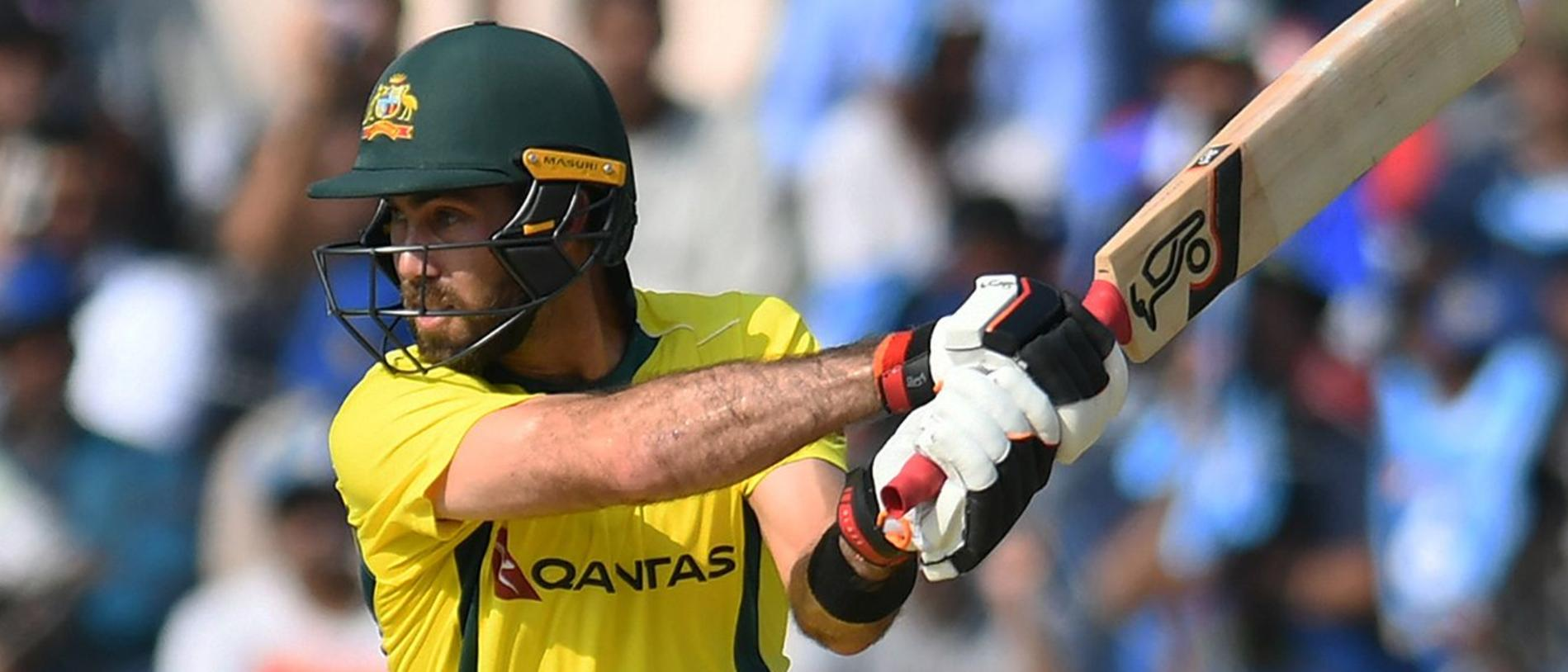 Australian cricketer Glenn Maxwell plays a shot during the first one day international (ODI) cricket match between India and Australia at the Rajiv Gandhi International Cricket Stadium in Hyderabad on March 2, 2019. (Photo by NOAH SEELAM / AFP) / ----IMAGE RESTRICTED TO EDITORIAL USE - STRICTLY NO COMMERCIAL USE----- / GETTYOUT