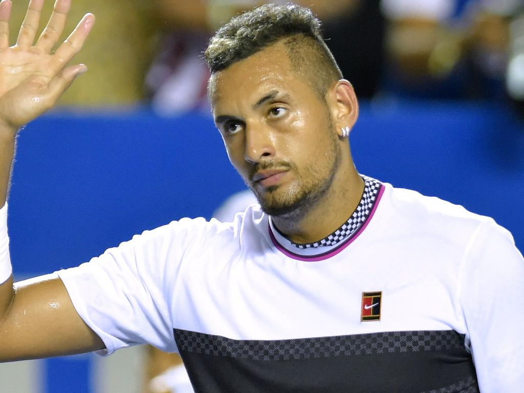Australian tennis player Nick Kyrgios reacts after defeating German tennis player Alexander Zverev during the Mexico ATP Open men's singles tennis final in Acapulco, Guerrero state on March 2, 2019. (Photo by PEDRO PARDO / AFP)