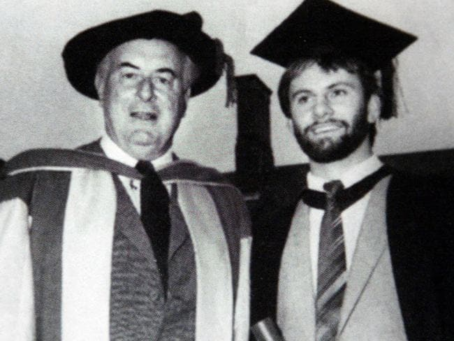 University days ... Gough Whitlam after receiving his Bachelor of Economics degree (honours) at Sydney University, pictured with Young Labor member Mark Latham. Picture: Jeff Darmanin