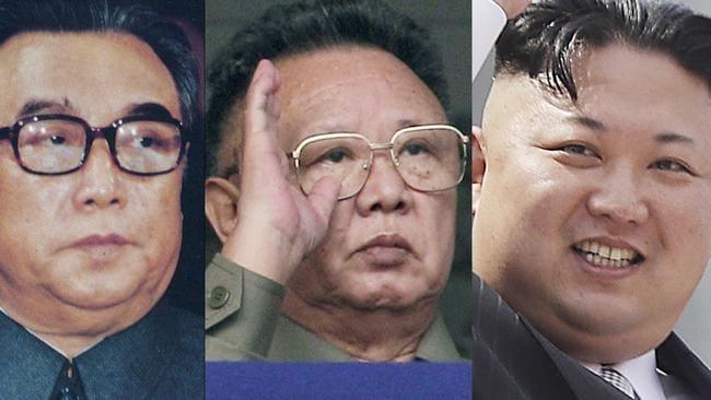 Three generations of North Korean rulers: Kim Il-sung, Kim Jong-il and Kim Jong-un. Picture: KCNA/ AP/Vincent Yu, Wong Maye-E
