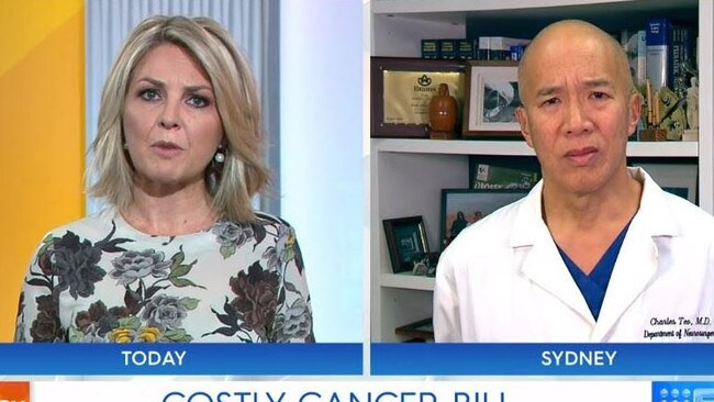 Brain surgeon Charlie Teo told Georgie Gardner to get her facts straight. Picture: Channel 9