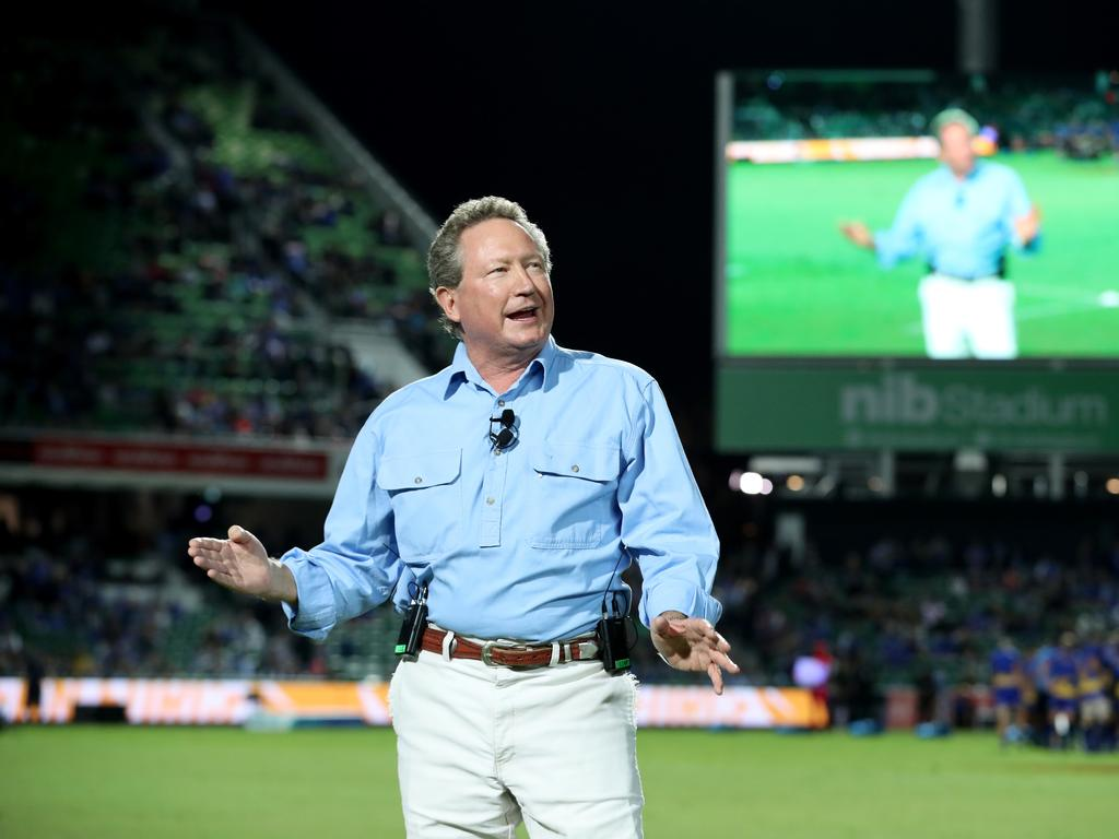 Philanthropist Andrew Forrest, founder of the World Series Rugby, speaks before the World Series Rugby match between the Western Force of Australia and Fiji at NIB Stadium in Perth, Friday, May 4, 2018. (AAP Image/Richard Wainwright) NO ARCHIVING, EDITORIAL USE ONLY