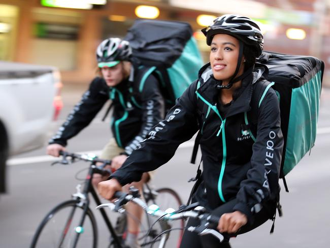 Darcy Travers and Olivia May Ambrose, Deliveroo riders in Enmore, Sydney. Picture: Craig Greenhill
