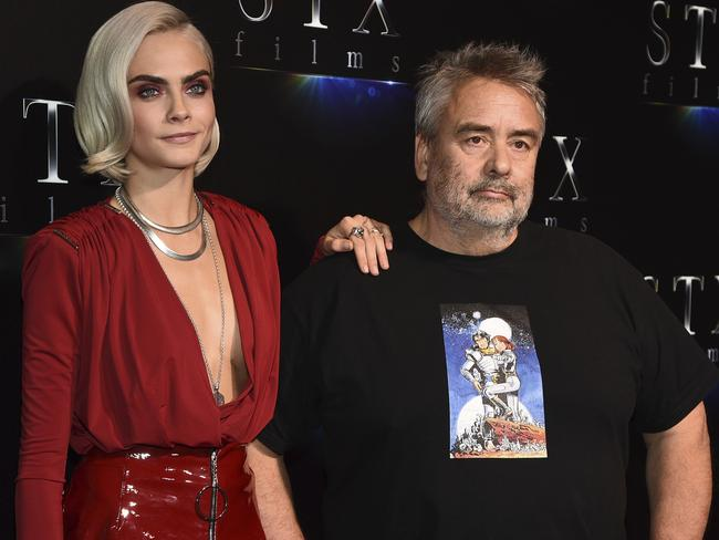 Director Luc Besson with his latest kick-butt female star, Cara Delevingne, in Las Vegas this week. Picture: Al Powers/Powers Imagery/Invision/AP