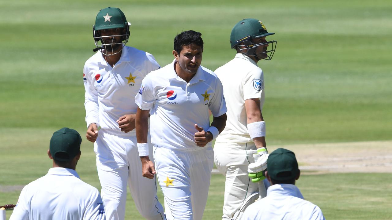 South Africa collapsed late on day one, but two late wickets dented Pakistan's progress.